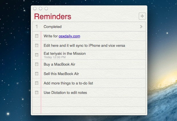 Auto-updating Reminders To Do list on the Mac desktop, thanks to iCloud
