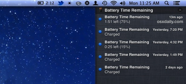 Battery Time Remaining shown as alerts to Notification Center in Mac OS X