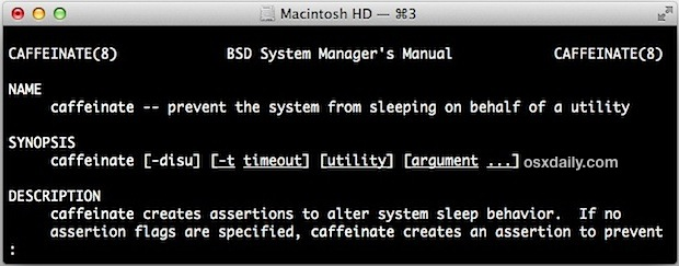 Caffeinate causes a Mac to avoid sleeping via command line