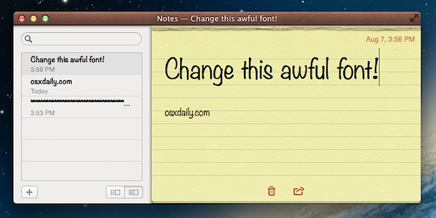 Change the Default Font of Notes app in Mac OS X
