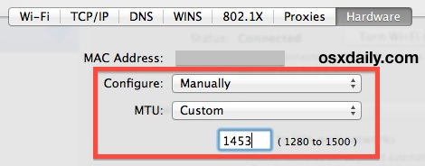 Change MTU size in Mac OS X