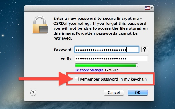Setting password protection for the encrypted folder in Mac OS X