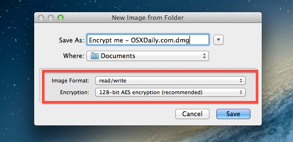 Creating a new encrypted image out of a folder in Mac OS X