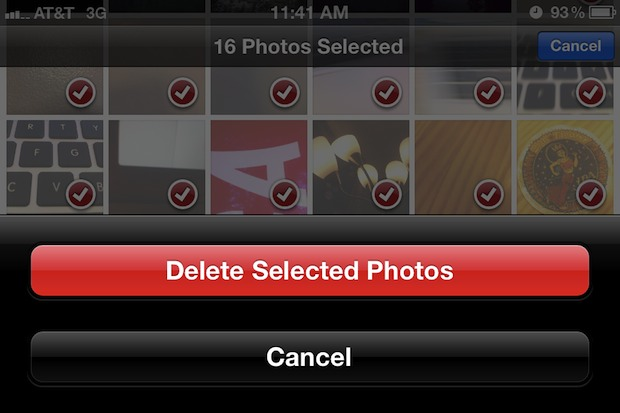 Delete photos from the iPhone