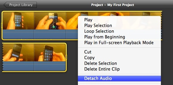 Detach Audio from a Video using iMovie