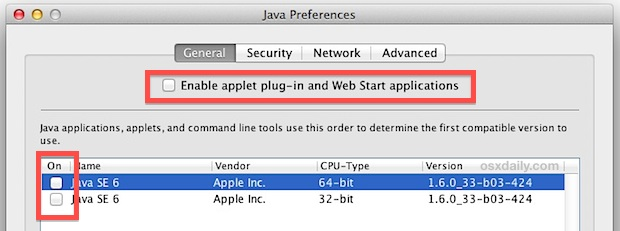 Disable Java in Mac OS X
