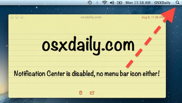 Disable Notification Center and remove the icon from the menu bar in Mac OS X