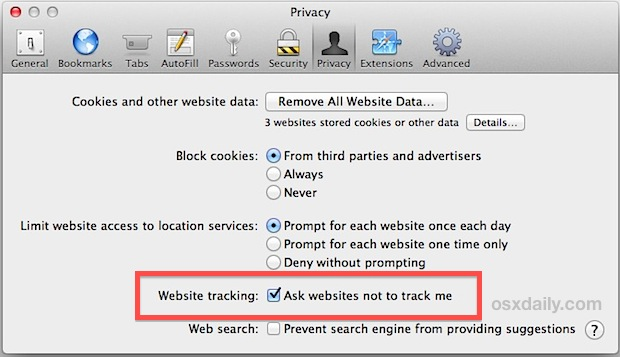 Enable Do Not Track privacy feature in Safari