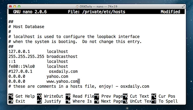 Edit the Hosts file in Mac OS X using Terminal