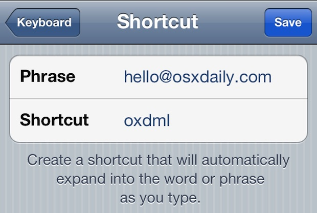 Create a shortcut for typing email address quickly in iOS