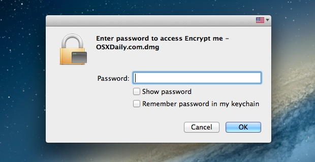 An encrypted and password protected image in Mac OS X can be created through Disk Utility