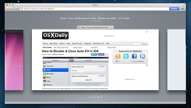 Flip through browser tabs in Safari