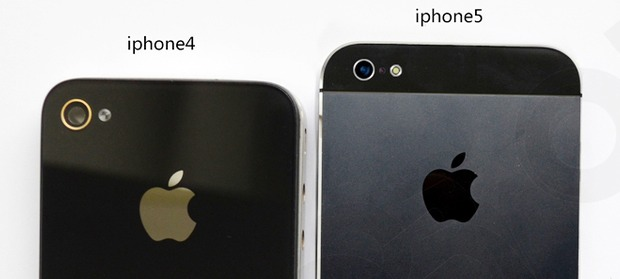 iPhone 5 next to an iPhone 4