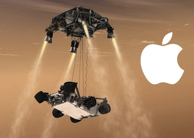 Mars Curiosity Rover and Lander render, with Apple logo