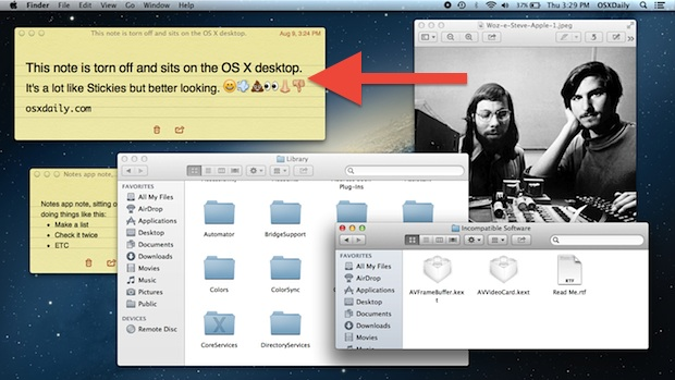 Note pinned to the Mac OS X desktop that syncs automatically with iCloud