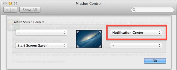 Enabling Notification Center via Hot Corner in OS X