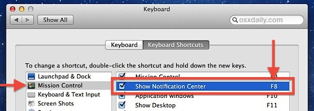 Keyboard shortcut to open Notification Center