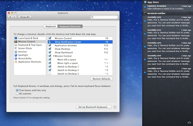 Notification Center opened through a keyboard shortcut in OS X Mountain Lion
