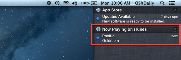 iTunes Song alert in Notification Center within Mac OS X