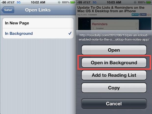 Open Safari Links in Background on iOS