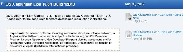 OS X 10.8.1 Beta build 12B13