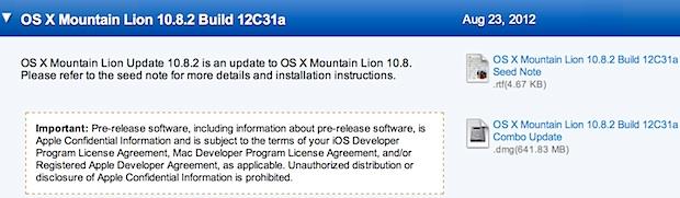 OS X 10.8.2 Developer Release 12C31a