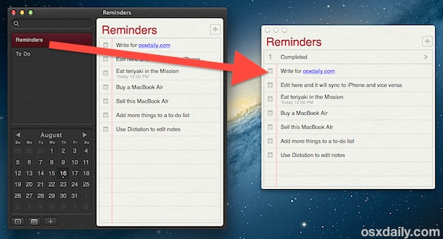 Pin a reminders list to the Mac desktop