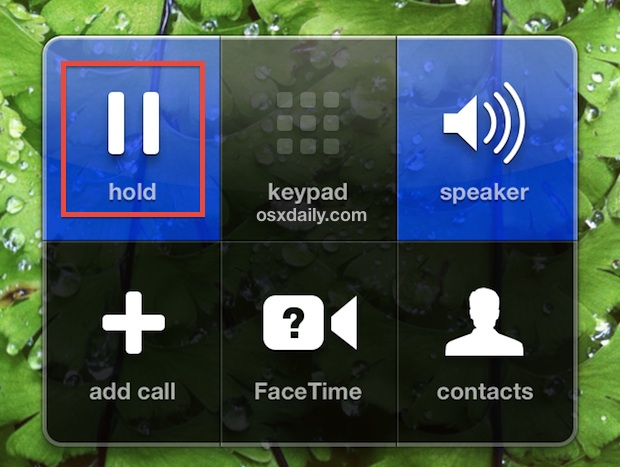 Place a call on Hold using iPhone