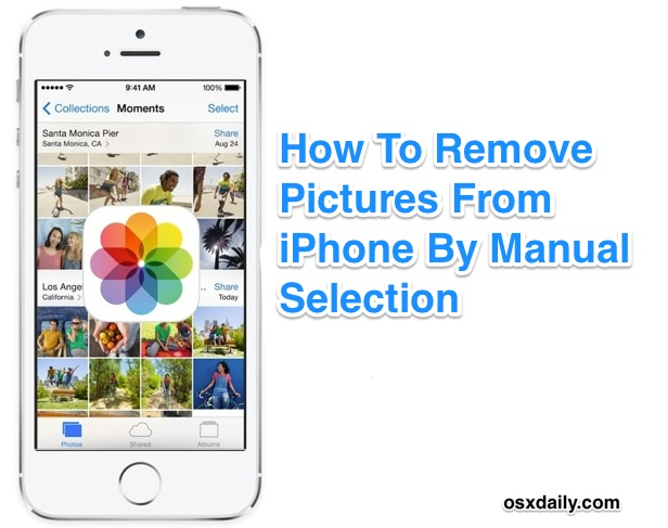 Remove multiple pictures from iPhone by selecting them