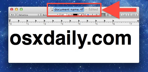 Rename a file in Mac OS X from the title bar
