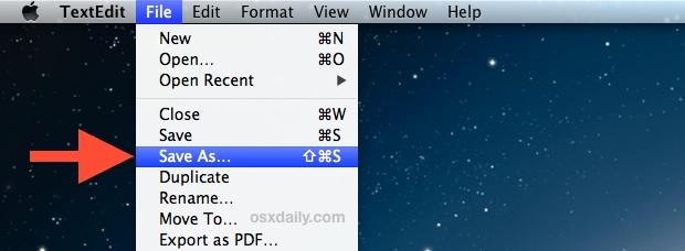 Save As in OS X menu item