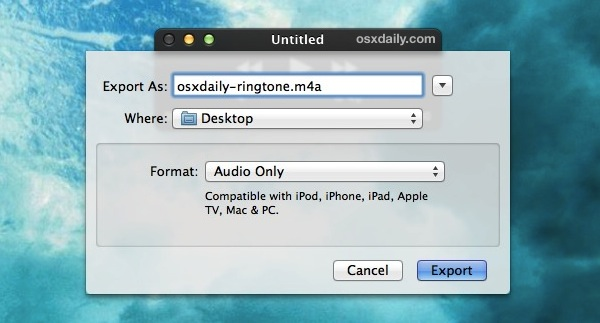Export the Audio Track as M4A to convert it to a ringtone