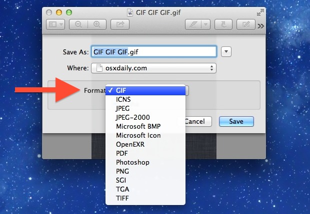 Save Image as Other Image Formats with Preview in OS X