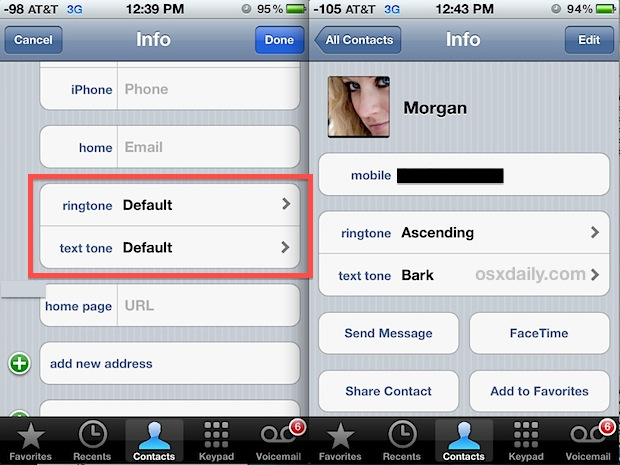 Set a custom ringtone per contact on iPhone