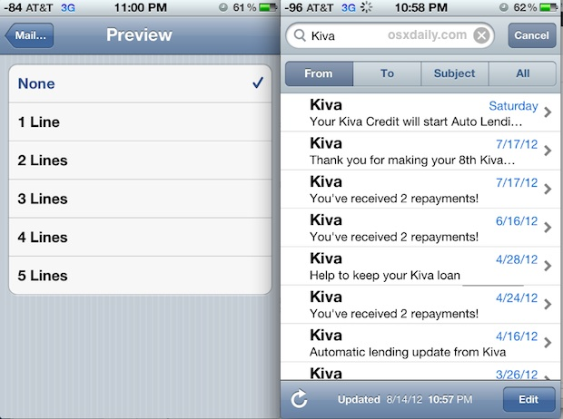How to Show More eMails on iPhone Screen