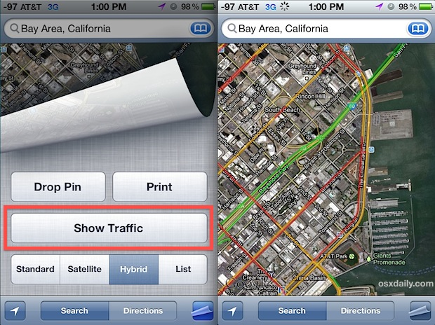 Show Traffic on Maps for iPhone