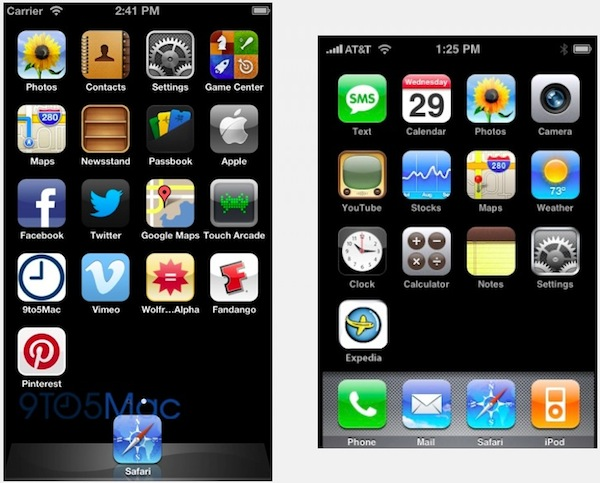 Taller iPhone homescreen with 5 icon rows vs current iPhone homescreen with 4 icon rows