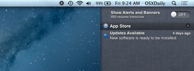 Turn Off Notification Center alerts and notifications in OS X on a temporary basis