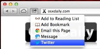 Tweet from Safari in OS X Mountain Lion