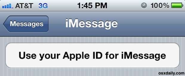 Use an Apple ID for iMessage syncing between iOS Devices and Mac OS X