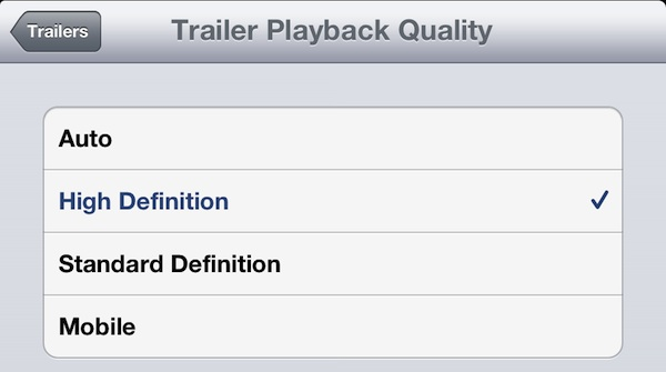 Always play HD Video in Trailers for iPad