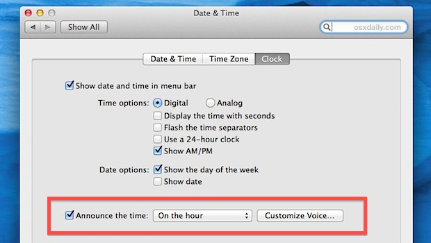 Make Mac announce the time