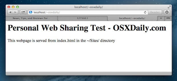 Apache web server running in Mac OS X Mountain Lion