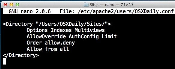 Apache web server in Mac OS X user configuration file