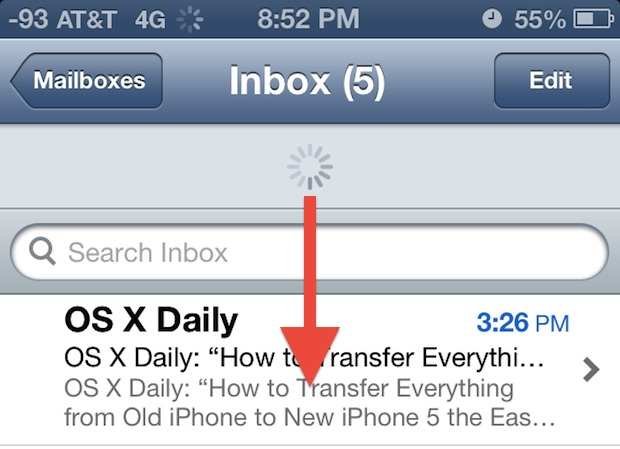 Check Mail in iOS with a pull-to-refresh gesture