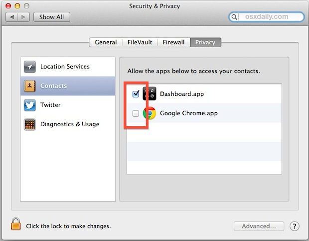 Control which apps can access Contacts data in Mac OS X