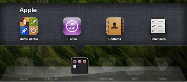 Dock Folders opened in iOS