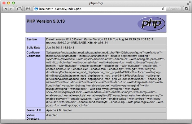 Enable PHP in Mac OS X