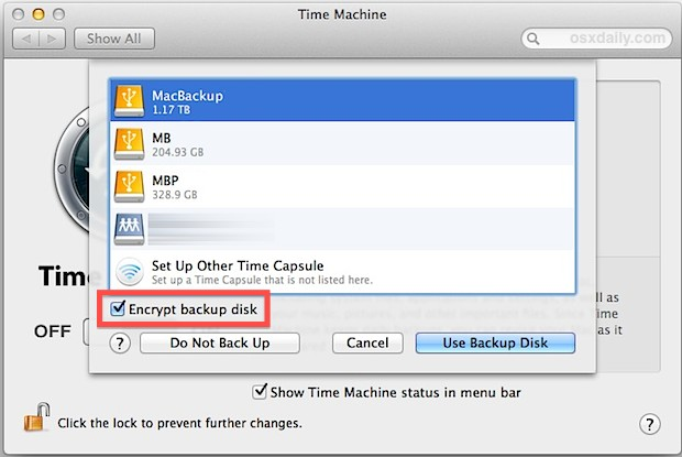 Encrypt Time Machine backups in Mac OS X