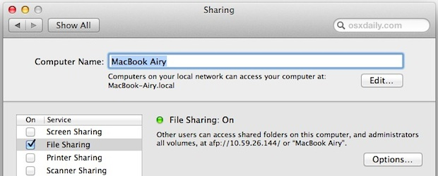 enable file sharing on Macs